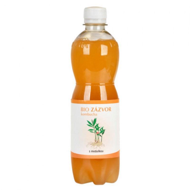 Kombucha zázvorová s meduňkou 500 ml BIO STEVIKOM - Zdravá výživa a biopotraviny Zdravé ovocné a zeleninové nápoje, čaje Zdravé přírodní nápoje Kombuchy