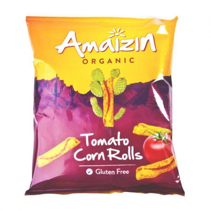 Chipsy kukuřičné rajčatové 100 g BIO AMAIZIN - Zdravá výživa a biopotraviny Něco na zub Slané Chlebíčky, knackebroty