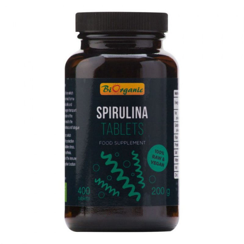 Spirulina 400 tablet 200 g BIO BIORGANIC - Zdravá výživa a biopotraviny Superpotraviny a doplňky stravy