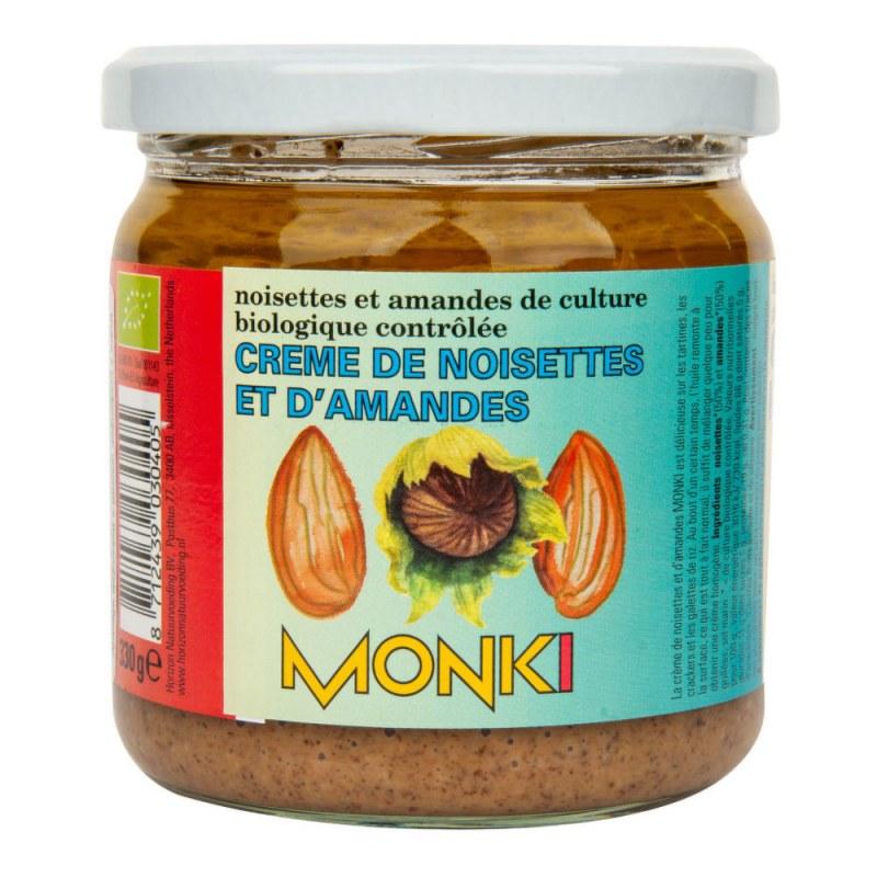 Krém z pražených mandlí a lískových ořechů 330g BIO MONKI - Zdravá výživa a biopotraviny Pomázanky, paštiky, džemy Pomázanky z ořechů a semínek