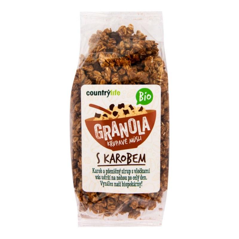 Granola - Křupavé müsli s karobem 350g BIO COUNTRYLIFE - Zdravá výživa a biopotraviny Rýže, těstoviny, vločky a jiné obiloviny Vločky, müsli, lupínky