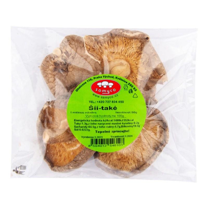 Houby sušené shiitake 50g SAMYCO - Zdravá výživa a biopotraviny Ochucovadla Sušené houby a rajčata, olivy
