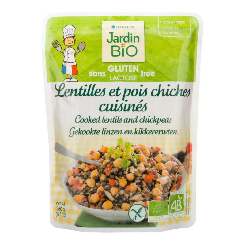 Hotový pokrm bezlepkový – vařená čočka s cizrnou 250g BIO JARDINBIO - Zdravá výživa a biopotraviny Směsi a omáčky