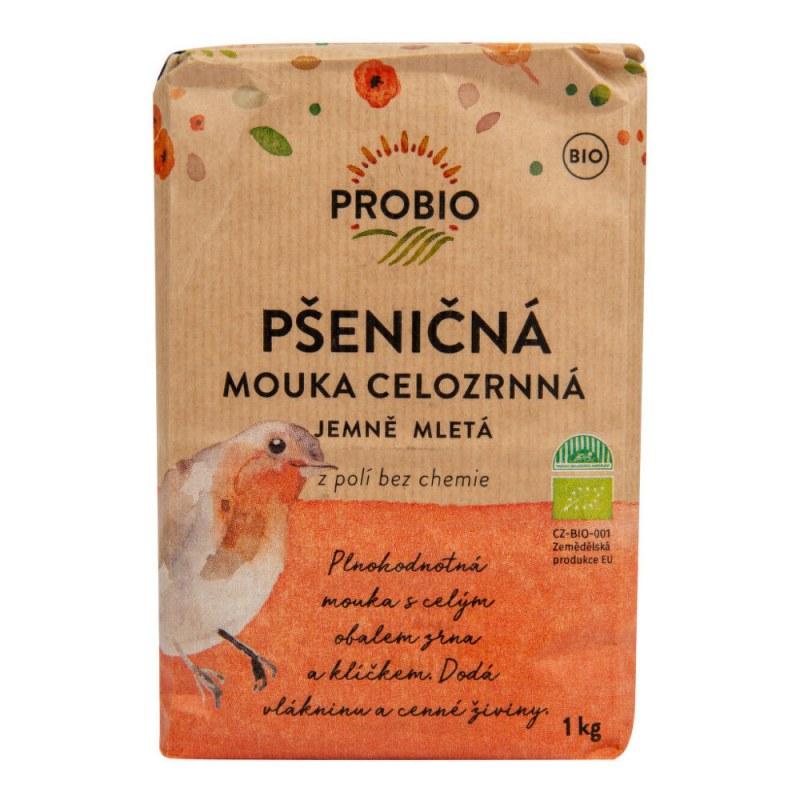Mouka pšeničná celozrnná jemně mletá 1kg BIO PROBIO - Zdravá výživa a biopotraviny Rýže, těstoviny, vločky a jiné obiloviny Mouky, krupice, strouhanka