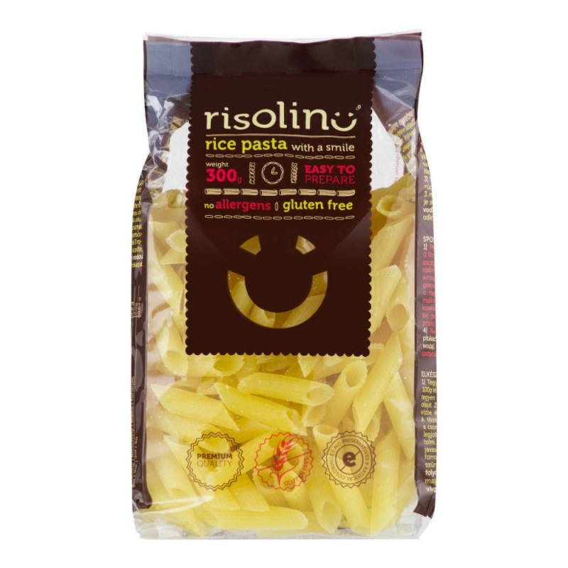 Těstoviny penne rýžové bezlepkové 300g RISOLINO - Zdravá výživa a biopotraviny Rýže, těstoviny, vločky a jiné obiloviny Těstoviny, kuskus, bulgur