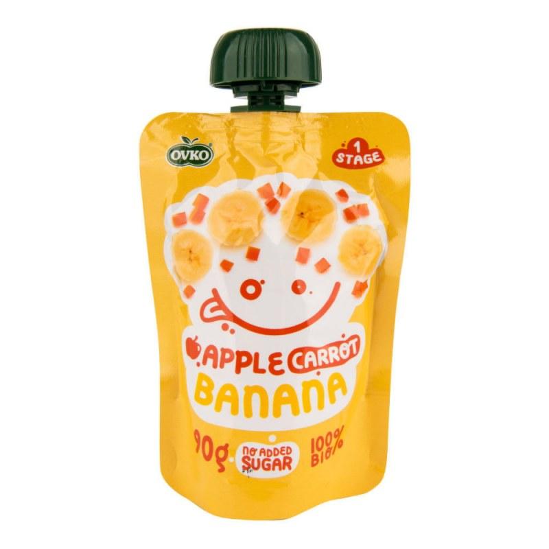 Příkrm jablko, mrkev, banán 90g BIO OVKO - Zdravá výživa a biopotraviny Dětská výživa bez cukru a konzervantů