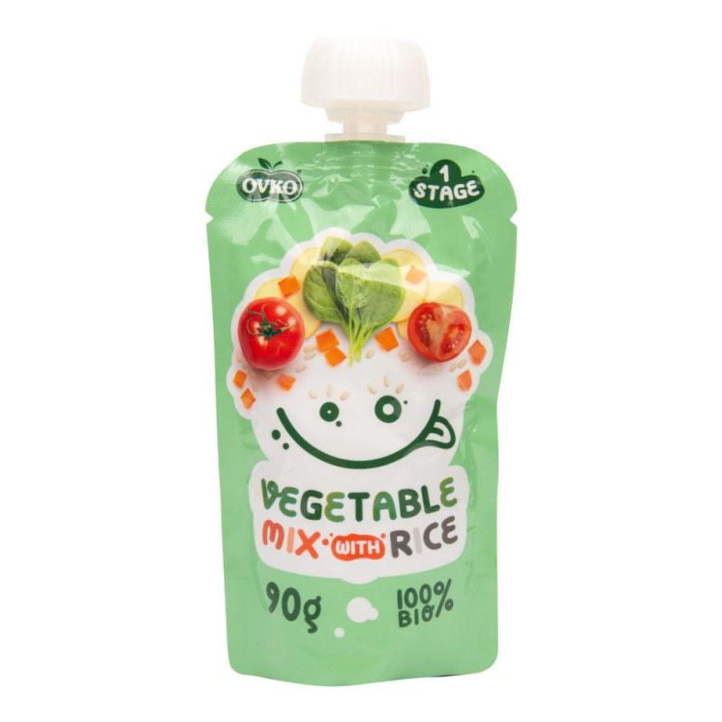 Příkrm zeleninová směs, rýže 90g BIO OVKO - Zdravá výživa a biopotraviny Dětská výživa bez cukru a konzervantů