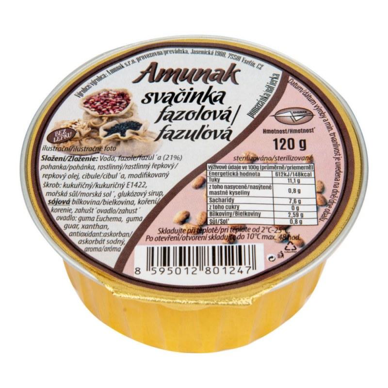 Svačinka fazolová 120g AMUNAK - Zdravá výživa a biopotraviny Pomázanky, paštiky, džemy Slané pomazánky