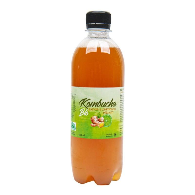 Kombucha zázvor s limetkovou příchutí 500 ml BIO STEVIKOM - Zdravá výživa a biopotraviny Zdravé ovocné a zeleninové nápoje, čaje Zdravé přírodní nápoje Kombuchy