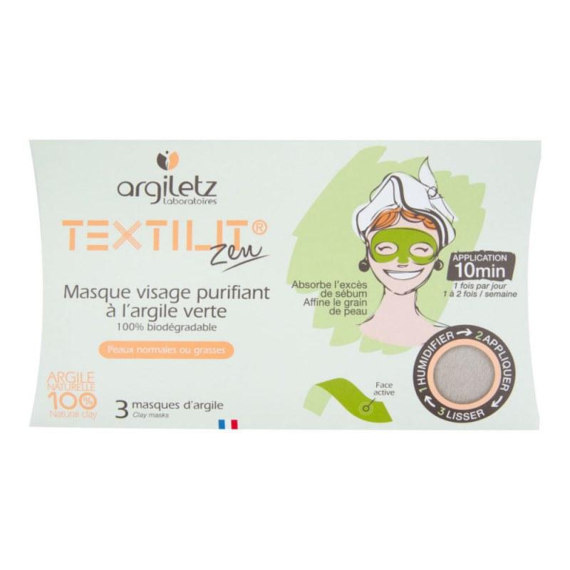 Maska pleťová čisticí textilní se zeleným jílem 3 ks ARGILETZ - Přírodní kosmetika Francie, USA Pleťová kosmetika Čištění pleti