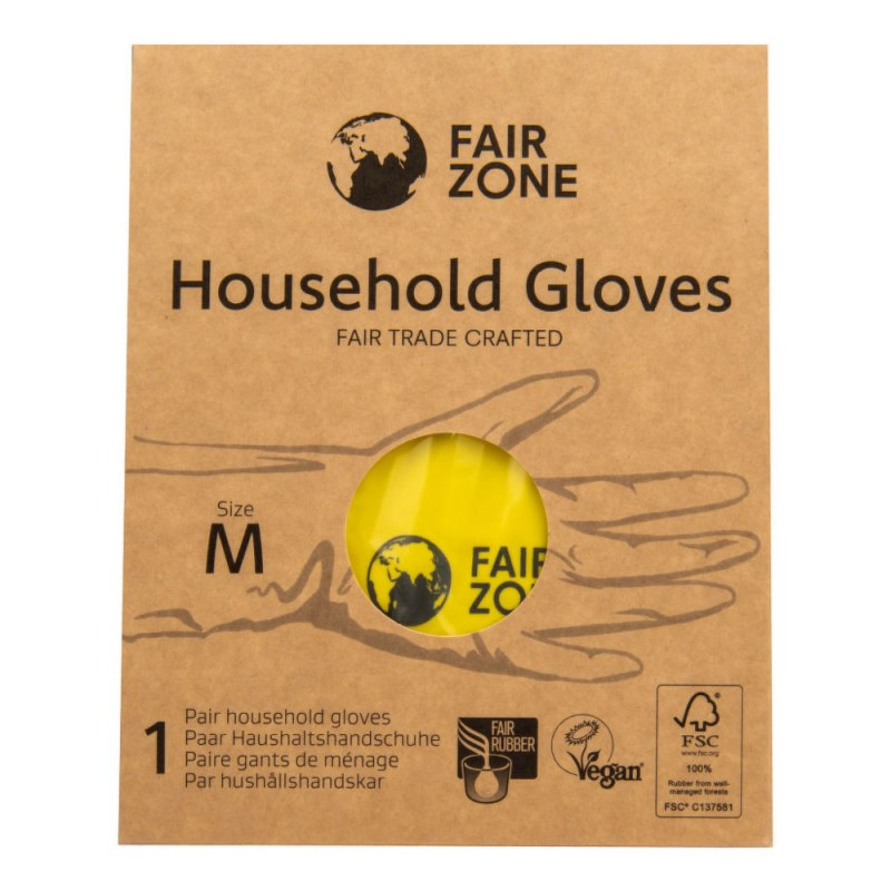 Rukavice pro domácnost z přírodního latexu M FAIR ZONE FAIR SQUARED - E-shop EKO drogerie - Ecover, Ecogenic
