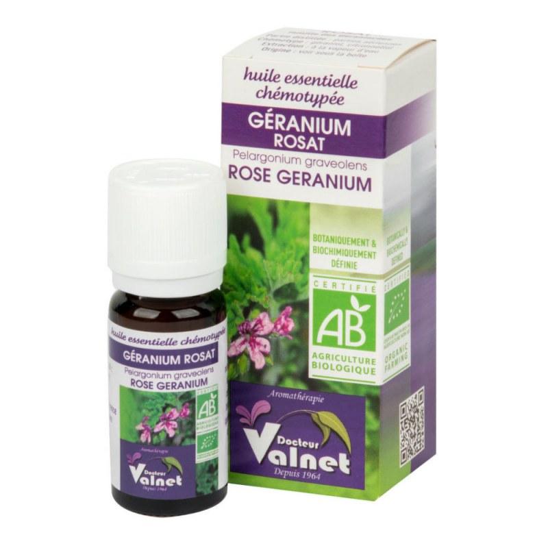 Éterický olej geranium růžové (muškát vonný) 10 ml BIO DOCTEUR VALNET - Přírodní kosmetika Francie, USA Aromaterapie Esenciální oleje